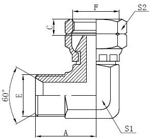BSP Elbow Connector គំនូរ
